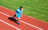Man Athlete Run To Achieve Great Result. Speed Training Guide. Athlete Runner Sporty Shape In Motion poster