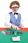 die Händler ausgeteilten Karten von warf ihnen über die Pokertisch