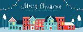 Merry Christmas And Happy New Year Web Banner Illustration Of Cute Houses In Winter Season. Holiday  poster