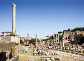 Overview of the Forum Romanum, with the single Phocas Column dominating the view, the remnants of the Temple of Castor and Pollux on the right, and the Arch of Titus in the center