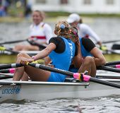 AMSTERDAM-JULY 23: Valentina Calabrese and Giada Colombo (Italy's BW4x) hug after winning silver med