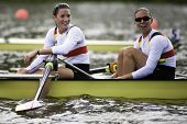 AMSTERDAM-JULY 23: Kuehne and Reimund (Germany Women's Four) smile as they become world champion und