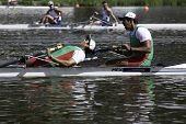 AMSTERDAM-JULY 22:  Cabrera and Cuevas (Mexico Men's Pair) are exhausted after the finish of the wor