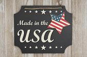 Made In The Usa Text On A Chalkboard With Patriotic Usa Red And Blue Star On Weathered Wood poster