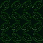 Seamless Pattern With Bananas And Text- Organic Banana. Bright Contrasting Contour On Dark Backgroun poster