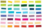 Mini Washi Tape Strips In 48 Solid Colors. Semi-transparent Masking Tape Or Adhesive Strips. Eps Fil poster