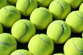 Rows of tennis balls