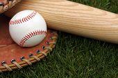 Baseball glove, ball and bat