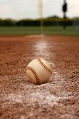 Baseball on the First Base Line