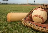 stock photo of baseball bat  - Baseball in a Glove with Bat - JPG