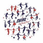 Silhouettes Of Swing Dancers Isolated Forming A Circle On White Background poster