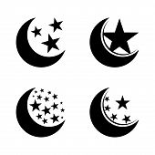 Moon And Stars Vector Icon Flat Style Illustration For Web. Silhouette Moon And Stars Vector Icon Si poster