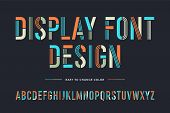 Stencil Line Font. Colorful Condensed Alphabet And Font poster