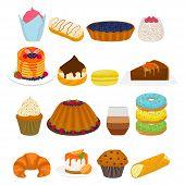 Vector Icon Illustration Logo For Big Set Sweet Desserts On Plate, Meal In Transparent Glass Crocker poster