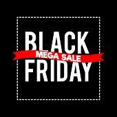 Black Friday Sale Inscription Design Template.  Black Friday Mega Sale Offer. Discount Offer Present poster