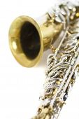 Detail Of A Gold And Silver Brass Saxophone In White Background poster