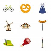 Culture Features Of Germany Icons Set. Flat Illustration Of 9 Culture Features Of Germany Icons For  poster