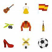 Spanish Culture Symbols Icons Set. Flat Illustration Of 9 Spanish Culture Symbols Icons For Web poster