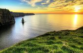 foto of cliffs moher  - Cliffs of Moher at sunset - JPG