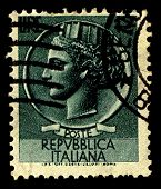 ITALY-CIRCA 1955:A stamp printed in Italy shows image of Italia Turrita is the national personificat