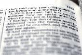 Detail closeup of scriptures of Risen Lord