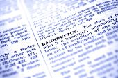 Detailed closeup of definition of the word bankruptcy
