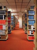 Rows of library books on shelves