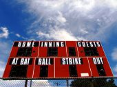 Baseball scoreboard with bat ball and strike zones and blue sky
