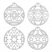Christmas Balls. A Set Of Stencils For Cutting. Decorating The Christmas Tree For Laser Cutting, Plo poster