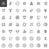 Astronomy And Astrology Outline Icons Set. Linear Style Symbols Collection Line Signs Pack Vector Gr poster