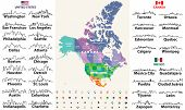 Canada, United States And Mexico Detailed Map With States Names And Borders. Flags And Largest Citie poster