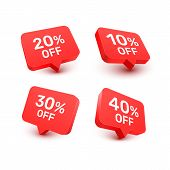Banner 20 10 30 40 Off With Share Discount Percentage. Vector Illustration poster