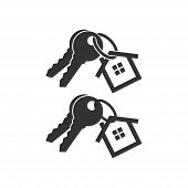 Keys With Key Chain Ring And A House Pendant. Real Estate Concept Icon. New Home Logo Design. Pair O poster