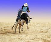 A cowboy riding a bucking bull