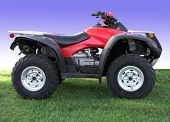 stock photo of four-wheeler  - Red ATV - JPG
