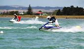 Two jet skis racing