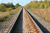 Railway Rail Road Industrial Landscape With Train Track Sleepers Close Up Autumn Day View. Railroad  poster