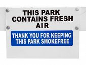 Smokefree Sign in Park isolated with clipping path