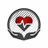 Heart Care Concept. Cardio Vascular. Hands Holding A Red Heart. Flat Medical Icon. Vector Illustrati poster