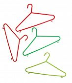 Four Plastic Coathangers isolated with clipping path
