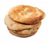 lavashes- flat unleavened wheat bread isolated on white