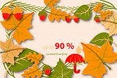 Hello Autumn Ad For Sale. Example Layout Fall Design Template For A Poster, Flyer Or Leaflet poster