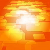 Vector 3D square on the orange background