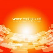 Vector 3D warped square on the orange background with text
