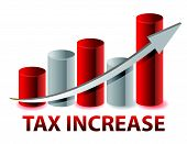 picture of exaltation  - Tax Increase graph illustration design on white background - JPG