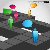 Network Concept With Speech Bubbles - Vector Illustration