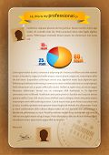 Colorful Creative CV Writing with 3D Pie Chart and Postmark - Editable Vector Illustration