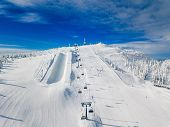 Modern Ski Chair-lift In Finland Lapland Ski Resort. Aerial View From Above. poster
