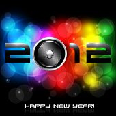 EPS10 Colorful New Year Celebration Background with Glitter, Rainbow Colours, Speaker and 2012 Messa
