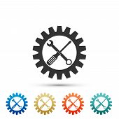 Maintenance Symbol - Screwdriver, Spanner And Cogwheel Icon Isolated On White Background. Service To poster